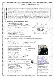 English Worksheet: Sunday Bloody Sunday U2
