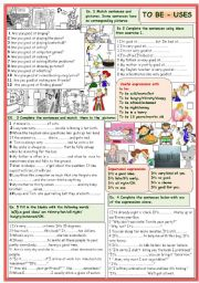 English Worksheet: To be: different uses.