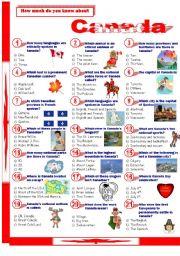 English Worksheet: Canada