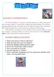 English Worksheets: The Tooth Fairy Reading Comprehension