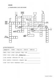 English Worksheet: Furniture - crosswords + Parts of the house