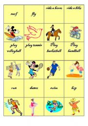 English Worksheets: actions-memory game
