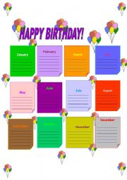 happy birthday calendar printables