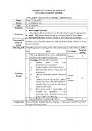 English worksheet: adjective(lesson plan)