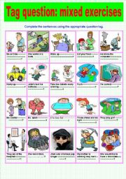 English Worksheets: Tag question: mixed exercises