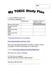 English Worksheet: My TOEIC Study Plan
