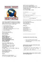 English Worksheets: Heal the world - Michael Jackson