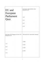 English Worksheet: European Union and European Parliament Quiz