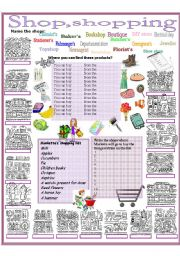 English Worksheet: Shop, shopping