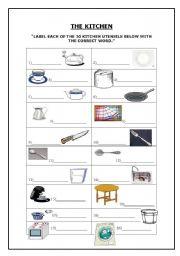 english worksheets the kitchen. Black Bedroom Furniture Sets. Home Design Ideas