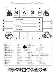photograph relating to Mash Printable identify MASH recreation for EFL learners - ESL worksheet via fern19594