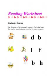 English Worksheets: Begining Sounds