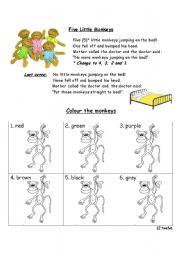 English Worksheet: Five Little Monkeys