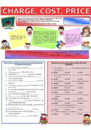 English Worksheet: COLLOCATION 76 - CHARGE, COST, PRICE