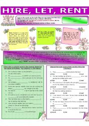 English Worksheet: COLLOCATION 77 - HIRE, LET, RENT