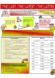 English Worksheet: COLLOCATION 78 - (THE) LAST, (THE) LATEST, (THE) LATTER