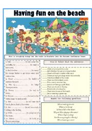 English Worksheet: HAVING FUN ON THE BEACH