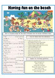 English Worksheet: HAVING FUN ON THE BEACH