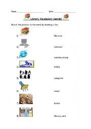 English Worksheet: Beginner Library Vocabulary