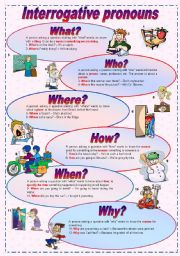 Interrogative pronouns - Grammar guide (fully editable)