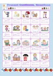 English Worksheets: PRESENT CONTINUOS.  QUESTIONS