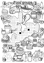 English Worksheet: FOOD GROUPS CRISS CROSS PUZZLE