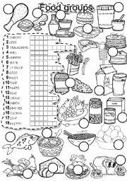 English Worksheet: FOOD GROUPS PUZZLE