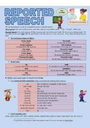 English Worksheet: REPORTED SPEECH (3 pages)