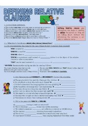 English Worksheet: DEFINING RELATIVE CLAUSES (2 pages)
