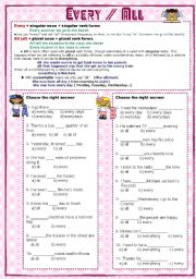 English Worksheets: Every, all