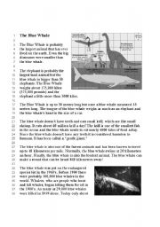 English Worksheets: The Blue Whale - Reading Comprehension