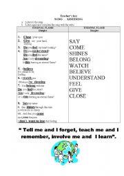 English worksheet: A song: Simple present Vs present  progressive