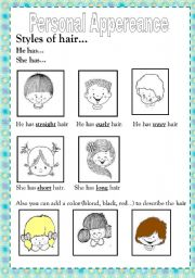 English Worksheets: PERSONAL APPEREANCE/ HAIR STYLES