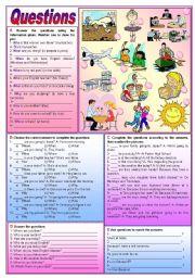 Questions - Interrogative Pronouns practice (fully editable)