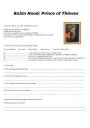 Movie worksheet - Robin Hood: Prince of Thieves