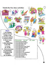 English Worksheets: Free Time activities Likes and Dislikes Match