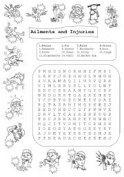 English Worksheet: Ailments and Injuries - Match and Wordsearch