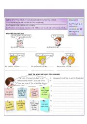 English Worksheet: Reported commands