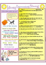 English Worksheet: Idioms, slang, expressions