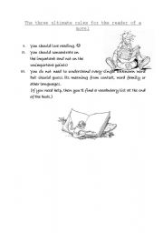 English Worksheets: The three ultimate rules for the reader of a novel