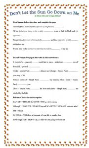 English Worksheet: Don�t Let the Sun Go down on Me by George Michael and Elton John