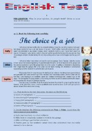 English Worksheets: TEST - THE CHOICE OF A JOB (3 pages)