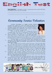 English Worksheets: TEST - COMMUNITY SERVICE VOLUNTEERS (3 pages)