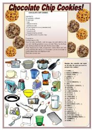 English Worksheet: Chocolate Chip Cookies!  ((recipe & activities on kitchen utensils)
