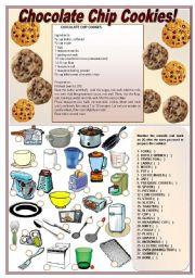 chocolate chip cookies recipe activities on kitchen utensils. Black Bedroom Furniture Sets. Home Design Ideas