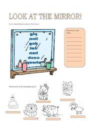 English Worksheets: look at the mirror