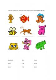 English Worksheets: Label the animals