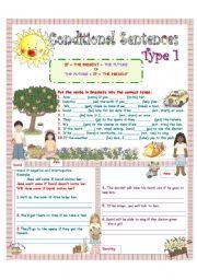 English Worksheet: CONDITIONAL SENTENCES (TYPE 1) 1/4