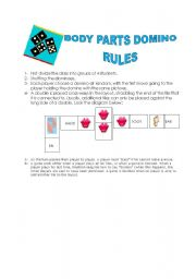 English worksheet: Body Part Domino - Cards (Rules)