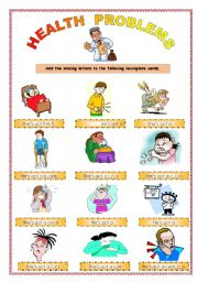 Health Problems I Esl Worksheet By Martha1936